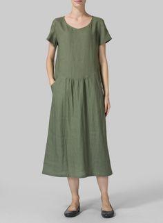 Linen Long Swing S/Sleeve Dress