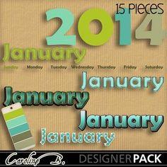 Digital Scrapbooking Kits   2014 January Words-(carolnb)   Birthdays, Calendars, Celebrations, Craftable - Printables, Everyday, Memories   MyMemories