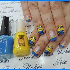 """""""Assemble the minions!"""" Despicable Me nail art Nails Only, Love Nails, Pretty Nails, Fun Nails, Nail Polish Art, Nail Polish Designs, Cute Nail Designs, Minion Nail Art, Hello Nails"""