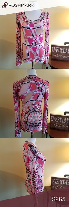 EMILIO PUCCI Bold Capri Print Slim Fit Jersey Top Amazing! EMILIO PUCCI Bold Pink Print Slim Fit Jersey Top. Like new.  Made in Italy  Size 8 US, 10 UK Emilio Pucci Tops