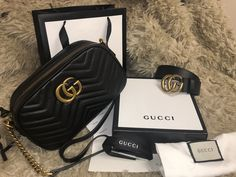 Gucci Belt $159 and Marmont small Matelassé Shoulder Bag $329... Email or IG Expensive Taste, My Bags, Gucci, Shoulder Bag, Belt, My Style, Belts, Shoulder Bags, Satchel Bag