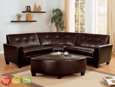 Calvin 3 Piece Corner Sectional in Espresso Leather by Crown Mark - 4020 Sectional Sofa Sale, Corner Sectional, Leather Sectional, Dark Wooden Floor, Couch With Ottoman, Corner Seating, Rental Decorating, Decorating Ideas, Best Sofa