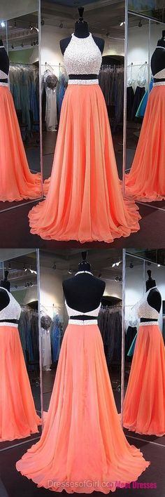 Orange Homecoming Dresses, Perfect A-line Halter Party Dresses, Chiffon Backless Formal Dresses, Two Piece Prom Dresses, Long Graduation Dresses PD20188330