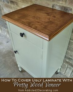 How to cover laminate with wood veneer - Wood-All veneer and Rust-Oleum Early American stain, then Minwax