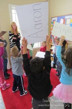 LOVE all these ideas for teaching a student to recognize and learn his/her name.  The name game by Teach Preschool
