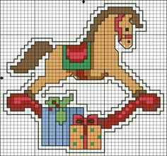 Christmas rocking horse cross stitch.