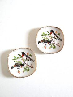 Coupelles décoratives années 50 décor oiseaux
