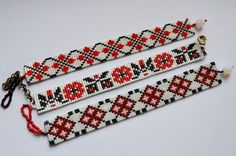 Bratara handmade din margele cu model folcloric – vanduta Handmade bead bracelet with folkloric pattern – sold Bead Loom Bracelets, Bracelet Crafts, Jewelry Crafts, Bead Loom Patterns, Bracelet Patterns, Beading Patterns, Handmade Beads, Handmade Bracelets, Seed Bead Jewelry