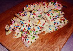 Funfetti Cake Batter Fudge! Delicious recipe, but the almond extract needs to be cut in half. WAY TOO MUCH for the small yield it creates, however everyone loved it! So yummy!