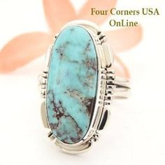 Dry Creek Turquoise Ring Size 9 Thomas Francisco Four Corners USA OnLine Native American Indian Silver Jewelry NAR-1467