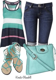 I love the colors!  The top looks comfy and cool.  And I love the length of the shorts.  Peal Outfit for Summer 2015