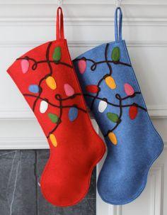 Calcetín de Navidad fieltro de lana hechos a mano: por MyPerennial