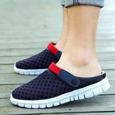 Men's Slippers Summer Cool Slippers Mesh Slippers Male Bird Nest Hole Shoes Large Size Anti-skid Semi Slippers | Import-express.com