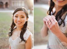 Portrait and engagement ring detail. University of Toronto campus engagement photos, Victoria College. #sweetheartempirephotography