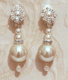 Pearls Bridal Earrings, Bridal Chandelier Earrings,  Vintage Wedding Jewelry, Swarovski, Posts Silver Ivory White ,Rhinestone ,Crystals, on Etsy, $49.00