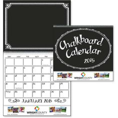 New Promotional Chalkboard Calendar. Allowing your recipients to customize each month of this calendar is a sure way to keep your brand in front of them all year long.