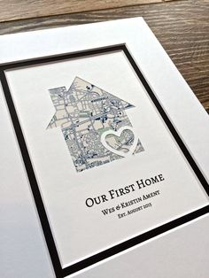 Our First Home Personalized Home Map Matted Gift von HandmadeHQ