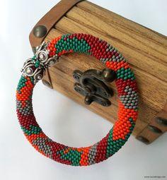Beaded Bracelet  Beaded Crochet Bracelet  Nature by NazoDesign, $27.00
