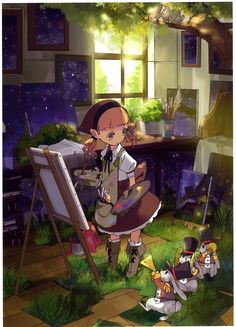 Anime / Manga Cute Kawaii Little Girl Painting Rabbits Artist