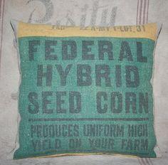 Vintage Federal Hybrid Seed Corn Feed Sack by dancingbumblebeecott, $29.75
