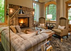 To create a rustic living room design is not difficult. But what you need to know is, wood or stone material is the main characteristic of this rustic design. Winter Living Room, Living Room Decor Cozy, Elegant Living Room, Living Room Furniture, Fireplace Design, Fireplace Ideas, Gas Fireplace, Fireplace Decorations, Farmhouse Fireplace
