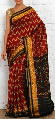 Handwoven Single Ikat Patola Silk Saree. original pin by @webjournal
