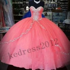 New Coral Quinceanera Gownformal Prom Party Ball Wedding Evening Dress size2 30 | eBay