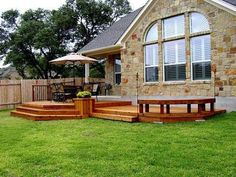 Attached Platform Deck with Partial Rail and Bench by Archadeck