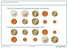 Ficha de dinero necesario para Primaria Learning Spanish, Math Activities, Euro, Coins, Ideas Para, Montessori, To Tell, Paper, Shopping