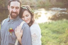 DIY Boho-chic garden wedding on Something Turquoise. Rings by Kristin Coffin Jewelry