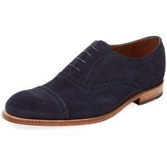 Grenson Men's Suede Matthew Oxford - Dark Blue/Navy - Size 7 (12.880 RUB) ❤ liked on Polyvore featuring men's fashion, men's shoes, men's oxfords, mens shoes, mens lace up shoes, mens brogues, mens navy blue suede shoes and mens suede lace up shoes