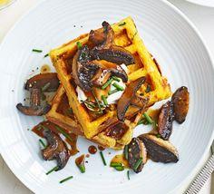 Chive waffles with maple & soy mushrooms recipe Vegan Recipes Bbc, Bbc Good Food Recipes, Delicious Vegan Recipes, Vegan Food, Gf Recipes, Dessert Recipes, Low Calorie Breakfast, Breakfast Menu, Vegetarian Breakfast
