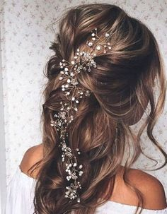SALE Crystal and Pearl hair vine Extra Long Hair Vine Bridal Hair Vine Wedding Hair Vine Crystal Hair Piece Bridal Jewelry Hair Vine Pearl wedding hairstyles Crystal Hair, Pearl Hair, Vintage Hairstyles For Long Hair, Loose Hairstyles, Winter Wedding Hairstyles, Brunette Wedding Hairstyles, Bridesmaid Hairstyles, Amazing Hairstyles, Bridal Hairstyles