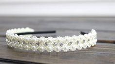 Ivory Jewel Beaded Headband Wedding Headband by myfashioncreations Bohemian Wedding Hair, Wedding Headband, Flower Crowns, Boho Hairstyles, Crystal Wedding, Floral Crown, Bridal Headpieces, Handmade Flowers, Ivory