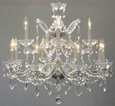 A83-SILVER/1534/12+1SW Swarovski Crystal Trimmed CHANDELIER Chandeliers, Crystal Chandelier, Crystal Chandeliers, Lighting