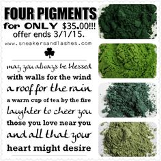 Be #YOUNIQUE on St Patrick's Day! Look amazing while drinking your #greenbeer! ;) Which gorgeous #green pigment are YOU? Feeling #lucky!? Snag your SET of FOUR pigments for ONLY $35!! #makeup #stpaddy #irish *Price increases to $45 March 1st!