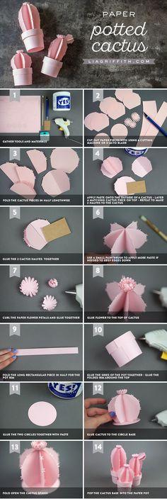 Cómo hacer papel Cactus  https://liagriffith.com/3d-potted-paper-cactus/ #origami