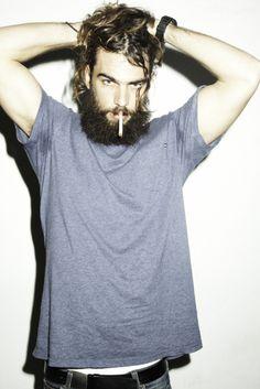 Loco, Loco, Loco! t shirt grey beard smoking men tumblr streetstyle fashion men hair jeans denim