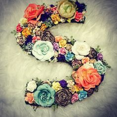 Floral letter or initial. Wedding decor or nursery by ChiKaPea