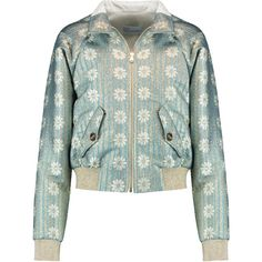 REDValentino Metallic brocade bomber jacket (€330) ❤ liked on Polyvore featuring outerwear, jackets, mint, zip bomber jacket, metallic jacket, green flight jacket, colorful jackets and bomber jacket