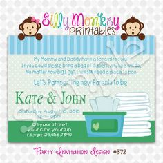 diaper and wipes party invitation or thank you card diy 372 more