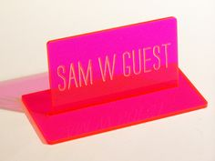 What a cute pink acrylic place card for a wedding! Ink Stamps, Pink Acrylics, Acrylic Colors, Wood Wedding Invitations, Name Badges, Table Signs, Fort Collins, Cute Pink, Badges