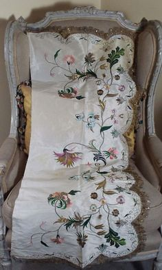 18th Century Embroidered Silk Apron Gold Metallic Embroidery English Needlework