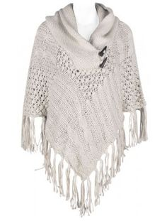 Postie Plus. White Knitted Poncho. Super warm, so great for winter.