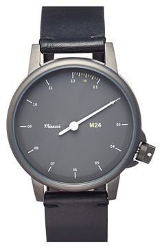 Miansai 'M24' One-Hand Leather Strap Watch, 39mm available at #Nordstrom