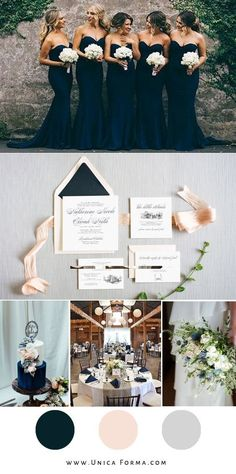Bridesmaid dresses Navy and blush wedding inspiration. Invitations from Unica Forma. Wedding Goals, Wedding Themes, Fall Wedding, Wedding Styles, Dream Wedding, Navy Spring Wedding, Wedding Color Schemes, Wedding Colors, Navy Blue Wedding Theme