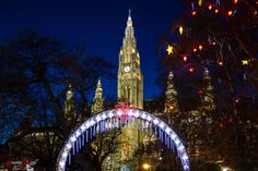 Christmas Market in front of Vienna City Hall Live For Yourself, Vienna, Christmas Lights, Dreaming Of You, City, World, Building, Travel, Christmas Fairy Lights