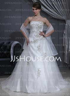 Wedding Dresses - $214.99 - Ball-Gown Sweetheart Chapel Train Tulle Charmeuse Wedding Dress With Ruffle Lace Beadwork (002000280) http://jjshouse.com/Ball-Gown-Sweetheart-Chapel-Train-Tulle-Charmeuse-Wedding-Dress-With-Ruffle-Lace-Beadwork-002000280-g280