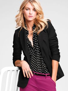 I have this exact outfit and have worn it.  Realized today that I probably got the idea for the Polka Dot blouse with Raspberry Crop Pants From VS.  I added a White Bubble necklace to this.  Received lots of Compliments on this outfit.
