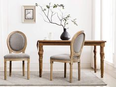 Chairus French Dining Chairs, Distressed Elegant Tufted Kitchen Chairs with Carving Wood Legs and Round Back - Set of 2 - Gray